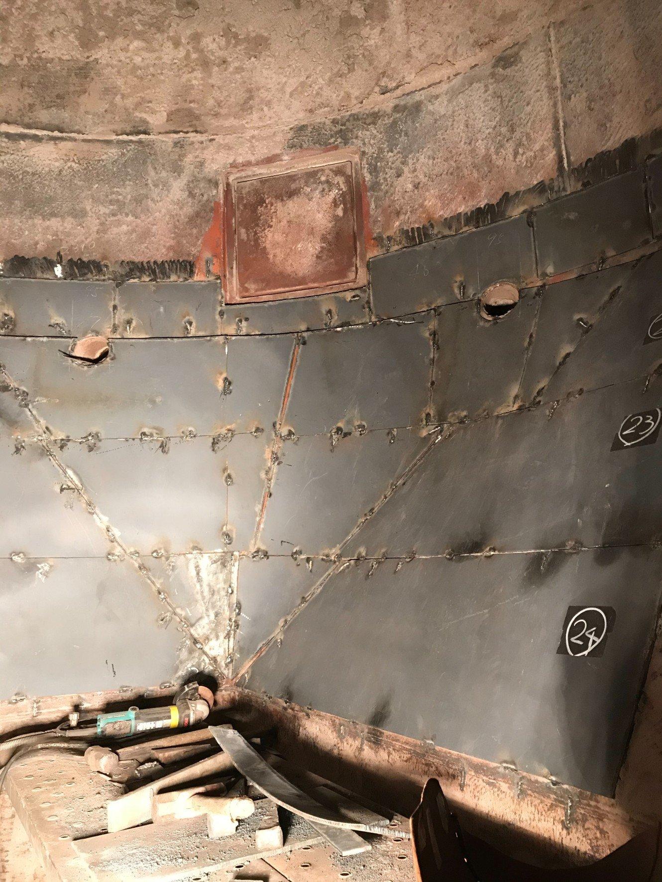 減温塔  角丸  内部  バチ当工事